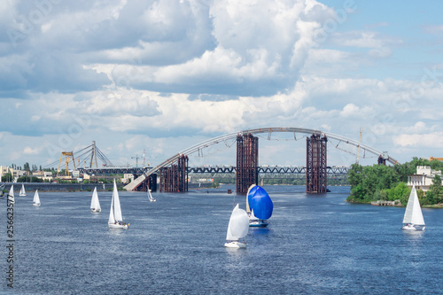 Regatta competition on lake river sailing yachts boats with