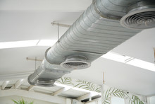 Air Duct. Air Condition Pipe Line System Flow Industrial Design, In White Room