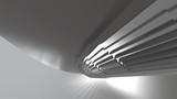Fototapeta Do przedpokoju - Abstract modern futuristic Architecture in shape of round tube tunnel With volume light. 3d Render Illustration background