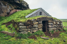 Turf Cottage Next To Cave Of Rutur - Rutshellir In South Part Of Iceland