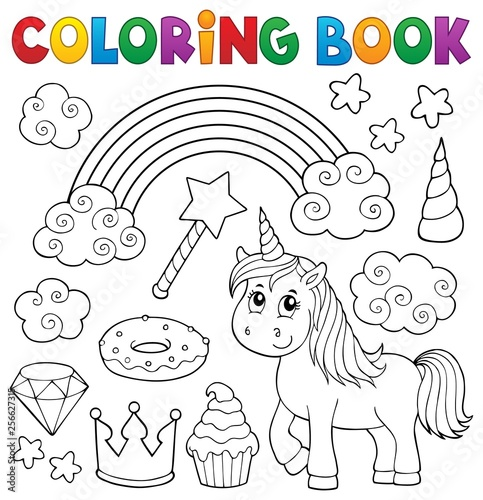Foto op Aluminium Voor kinderen Coloring book unicorn and objects 1