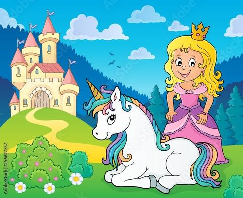 Foto op Canvas Voor kinderen Princess and unicorn near castle theme 1