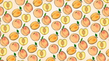 Vector Illustration Of Peaches Fruits Pattern Sketch Style