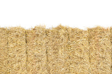 Hay Bale Straw Close Up On Whi...