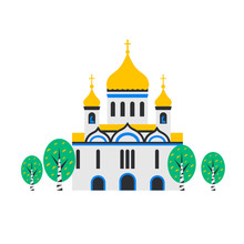 Christian Church. Orthodox Church, The Temple. Flat Cartoon Style Chapel With Cross, Chapel, Domes And Birches. Catholic Holy Traditional Symbol