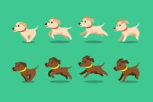 Vector Cartoon Character Labrador Retriever Dog Running Step For Design.