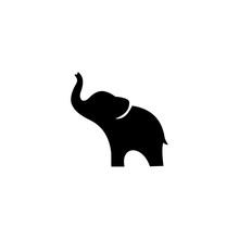 Elephant Black Silhouette Isolated On White Background, Abstract Art Illustration