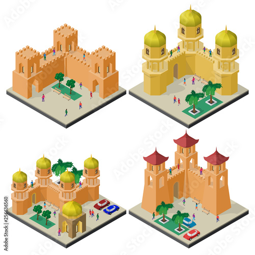 Foto  Set of isometric tourist attractions with fortress wall, towers, buildings and people
