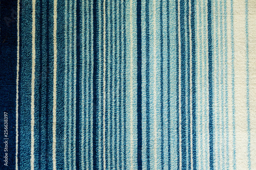 Texture of textile rug with striped pattern of white and blue Canvas