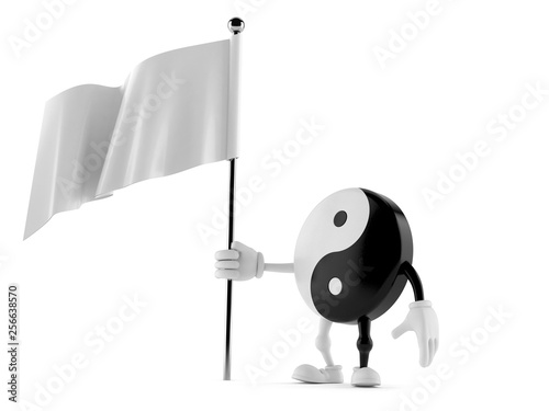 Photo  Jing Jang character with blank flag