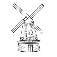 Old Windmill Sketch Engraving ...