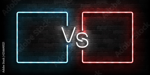 Photo  Vector realistic isolated neon sign of Versus frames logo for template decoration and covering on the wall background