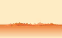 Martian Orange Surface Panorama Landscape Background After Dust Storm, Sand Hills In Dust On A Deserted Planet, Landscape Of Mars Planet