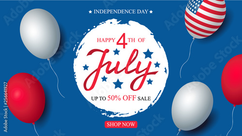 Fotografie, Tablou Independence day USA sale celebration banner template american balloons flag decor