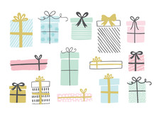 Gift Boxes Set, Hand Drawn Doodle Style. Birthday Party. Vector Illustration For Greeting Cards, Invitations, Posters.