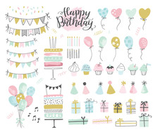 Set Of Birthday Party Design E...