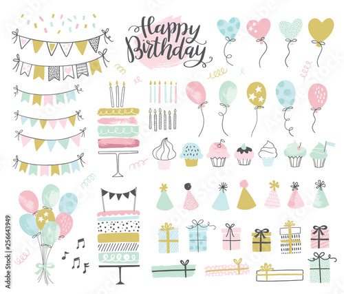 Obraz Set of birthday party design elements. Vector illustrations. Party decoration, balloons, gift box, cake with candles, confetti, party hats, cupcakes, bunting banners. - fototapety do salonu