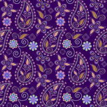 Seamless Purple Pattern With Paisley And Flowers. Traditional Ethnic Ornament. Vector Background.