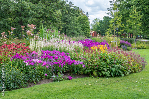 Photo sur Toile Pistache Colorful flower bed in a park in Sweden