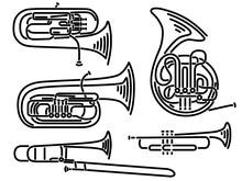 Set Of Vector Brass Wind Music...
