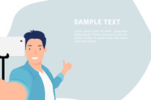 Cartoon People Character Design Banner Template Handsome Young Man Taking Selfie Photos With Thumb Up
