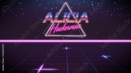 first name Alicia in synthwave style Wallpaper Mural