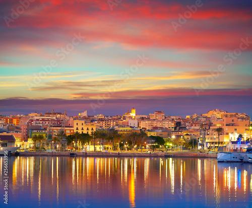 Tarragona port sunset in Catalonia