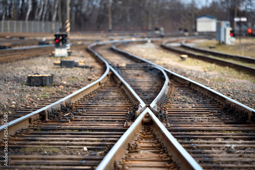 Canvas Prints Railroad Large empty railroad fork