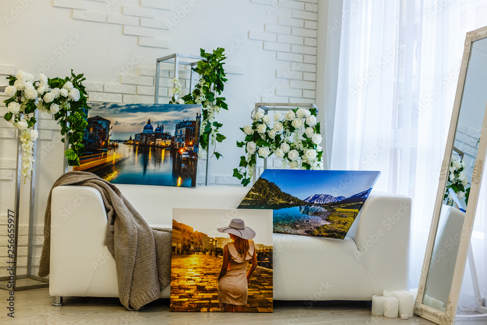 Fototapety, obrazy: Modern lliving room interior with Cliffs of Moher canvas on the wall - it is my photo available in shutterstock gallery