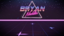 First Name Bryan In Synthwave Style