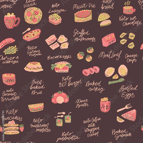 Ketogenic meals vector set Canvas Print