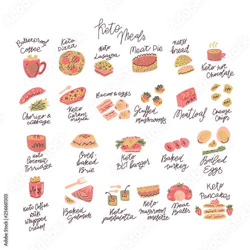 Ketogenic meals vector set Wallpaper Mural
