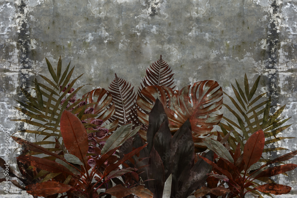 3d wallpaper, leaves of houseplants on concrete wall textured background. The original panel will turn your room in with the most recent world trends in interior fashion. The fresco effect.