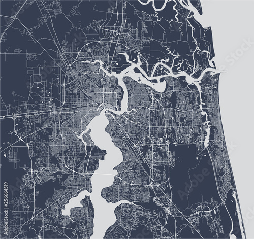 Cuadros en Lienzo map of the city of Jacksonville, Florida, USA