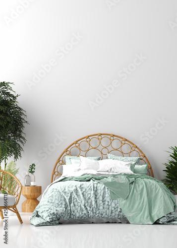 Tropical bedroom interior, 3d render