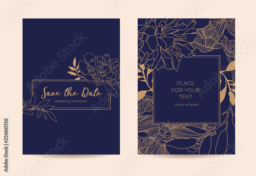 Fototapeta Modern Elegant Invitation Golden Graphic Flowers