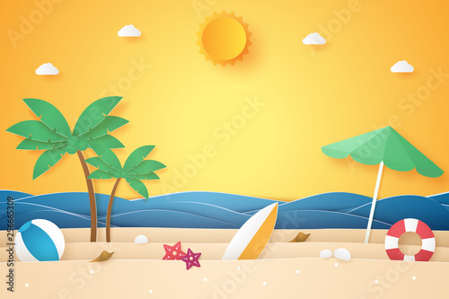 Summer time , sea and beach with coconut tree and stuff , paper art style