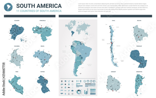 Fotografía  Vector maps set