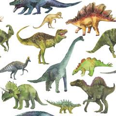 Hand drawn seamless pattern with dinosaurus. Dino pattern realistic. Children boy wallpaper background.