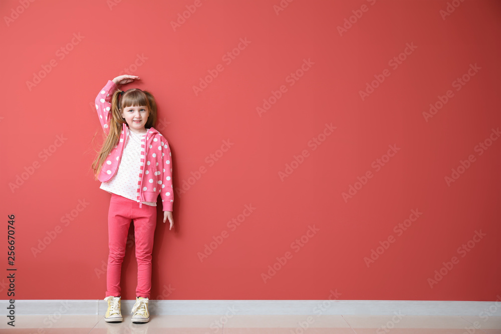 Fototapety, obrazy: Cute little girl measuring height near color wall
