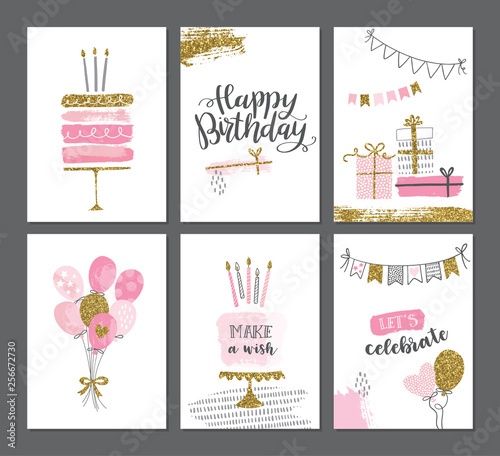 Photo Happy birthday greeting card and party invitation templates with gold glitter