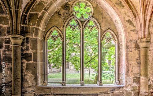 Fototapeta stone window arch in hallway of monastery maulbronn