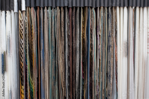 Assortment of fabric samples for curtains, close up Canvas Print