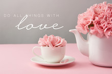 Pink Carnation Flowers In Cup ...