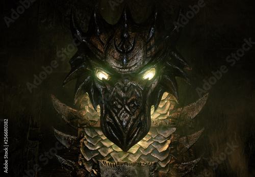 Fotografie, Tablou  Closeup of details of illuminated vintage throne on dark studio background