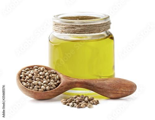 Fototapeta Hemp oil with seeds in closeup obraz