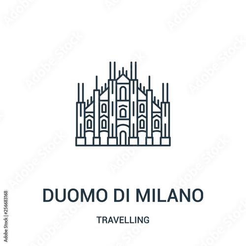 Fototapeta duomo di milano icon vector from travelling collection. Thin line duomo di milano outline icon vector illustration. Linear symbol. obraz