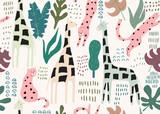 Wzór dżungli. Zwierzęcy wzór z żyrafą i różowym lampartem w sercach. Tło lato. Ilustracji wektorowych - 256683340