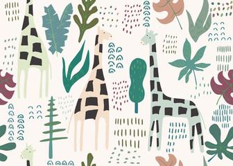 Wzór dżungli. Zwierzęcy druk z żyrafą. Tło lato. Ilustracji wektorowych