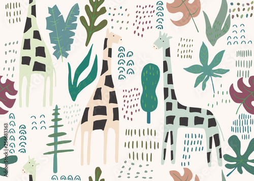 Obraz na plátně Jungle seamless pattern